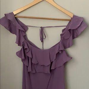 Club Monaco Purple Ruffled Strap Silk Dress Size 4